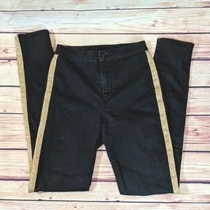 Divided Jeggings with Gold Vertical Stripe Detail